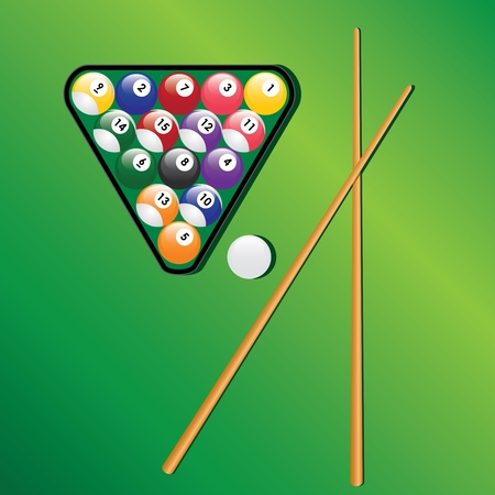 Billiard balls in triangle and two cues on the green background.