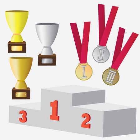 Set of awards and prizes for sport competitions.