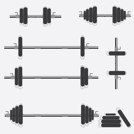 Set of barbells and dumbbells on the white background.
