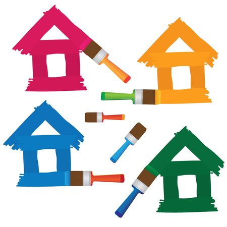 color spectrum: Set of coloured houses drawn by paint and brush on the white background.