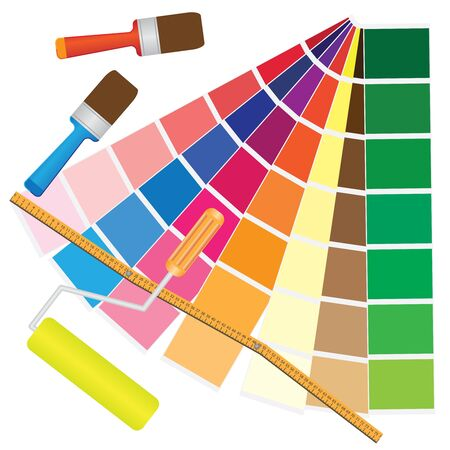 printer drawing: Brushes and papers with coloured samples for renovation.