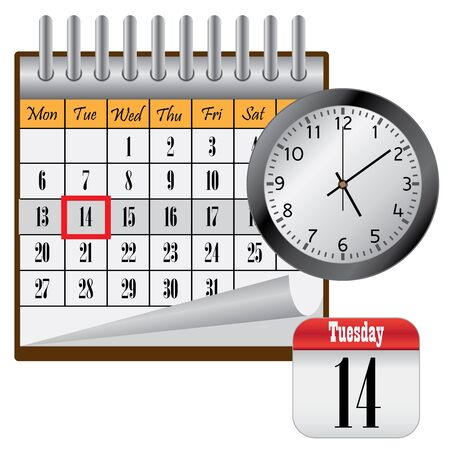 Calendar with month and clock on the white background. Stock Vector - 12822267
