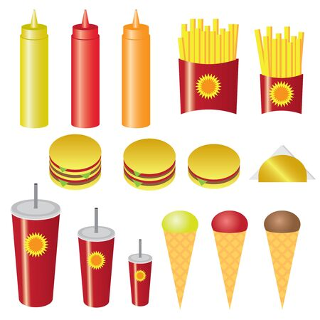 american food: Set of fast food on the white background