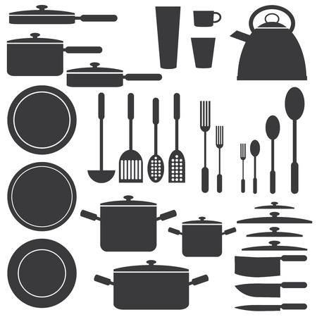 Set of kitchen utensils in white and black colours  Illustration
