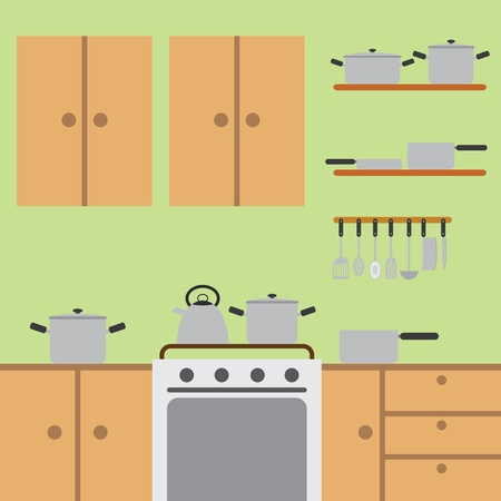 worktops: Modern kitchen with wooden worktops and stainless steel appliances