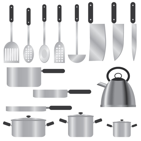 Set of kitchen utensils on the white background  Stock Vector - 12822347