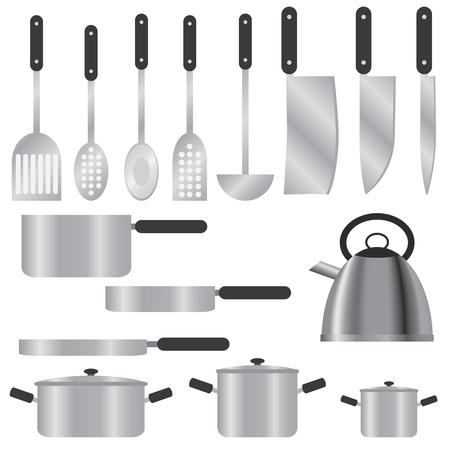 platter: Set of kitchen utensils on the white background