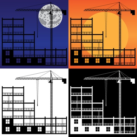 Set of images of lifting crane and building under construction. Stock Vector - 12822348
