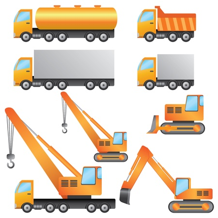 Set of construction machinery on the white background.
