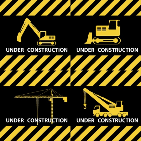 Under construction background with machinery in yellow and black colours. Vector