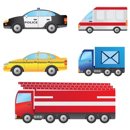 utilities: Conjunto de los diferentes tipos de veh�culos, incluyendo coches de polic�a, ambulancia, taxis, furgonetas de correos y un cami�n de bomberos.