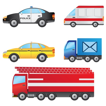 Set of different types of cars including police car, ambulance, taxi, post van and fire truck. Illustration