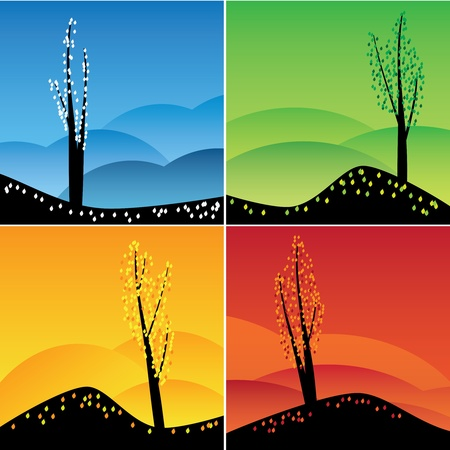 Illustration of square images of four seasons. Vector