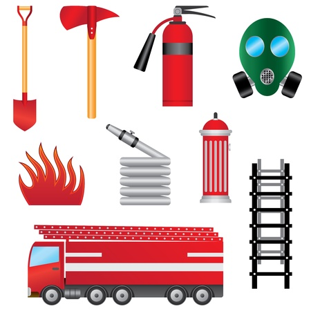 Set of fire prevention objects on the white background. Illustration
