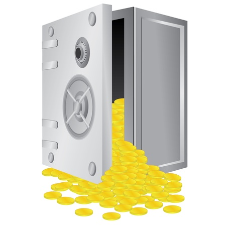 Opened safe box with gold coins inside on the white background.