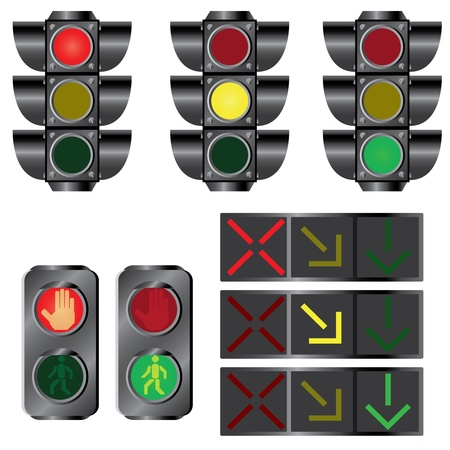 proceed: Set of various traffic lights on the white background.
