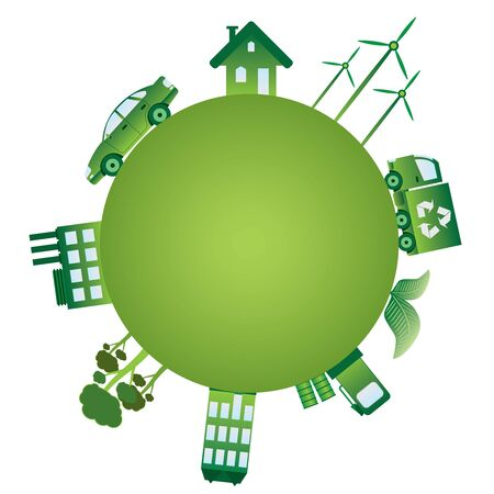 energy conservation: Green planet with green ecology objects on it. Illustration