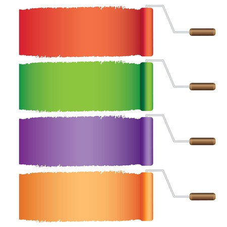Four rollers with different paint samples on the white background.