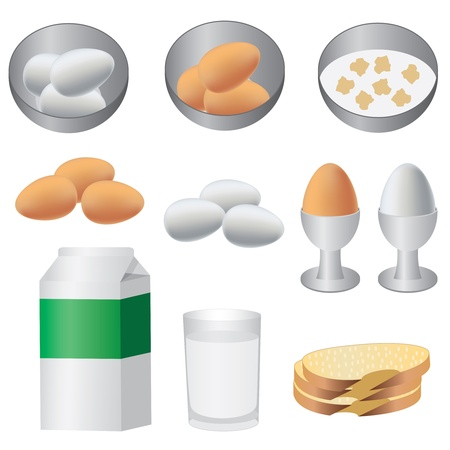 low glass: Eggs, milk and bread ready for breakfast on the white background.