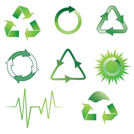 Set of green ecology icons on the white background.