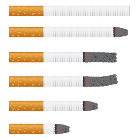 tobacco product: Images of six cigarettes on the white background.