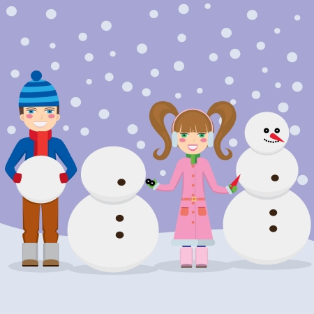 Smiling young boy and girl making snowmen at winter. Vector