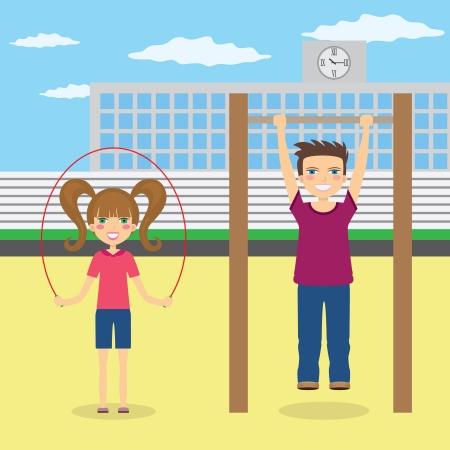 patio escuela: Ni�o y una ni�a hacer deporte en el patio de la escuela.
