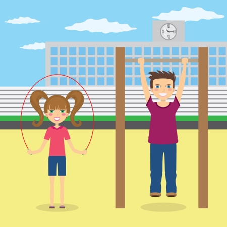 Young boy and girl do sport at the school yard.