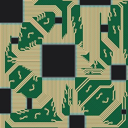 Part of circuit board of computer equipment. Vector