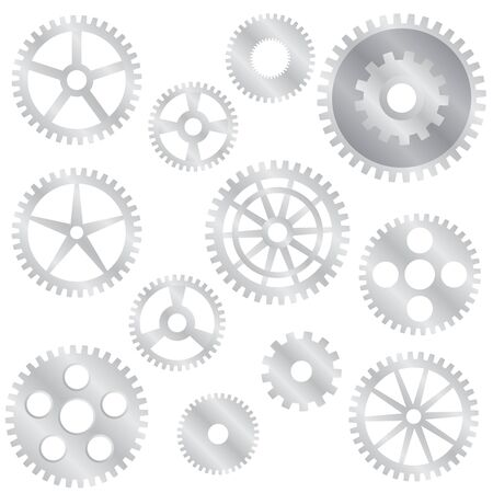 sprocket: Set of various steel gear wheels on the white background. Illustration