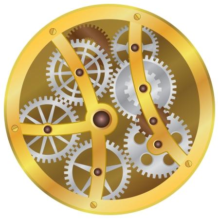 Afbeelding van het mechanisme met tandwielen op de witte achtergrond.