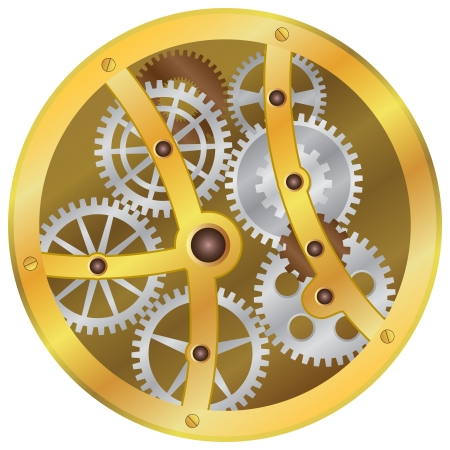 part time: Image of mechanism with gear wheels on the white background.