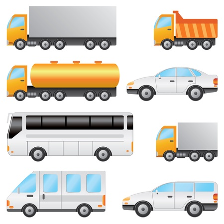 Set of various vehicles including bus, car, truck on the white background.