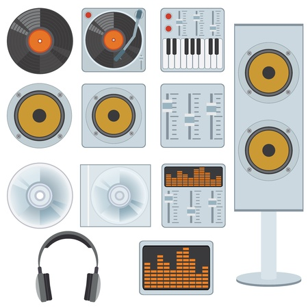 audio mixer: Set of music devices and equipment on the white background.