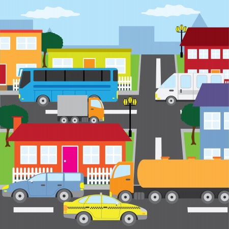 Illustration of city, houses and vehicles in sunny day. Illustration