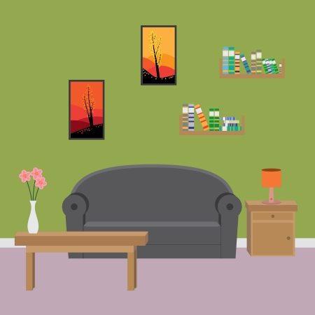 living room wall: Interior of modern living room. Illustration