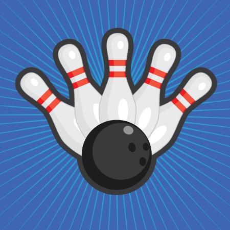 quilles: Cinq quilles de bowling et de boule sur le fond color� abstrait. Illustration