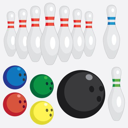 Set of tools for play bowling on the white background. Stock Vector - 14264534