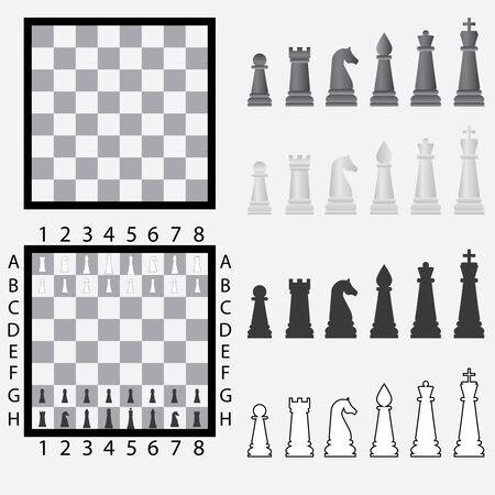 Chessboard with set of black and white chess pieces. Vector