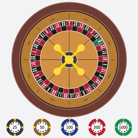 Roulette with chips on the white background. Vector