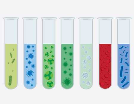vial: Test tubes with various viruses and bacterias on the white background.