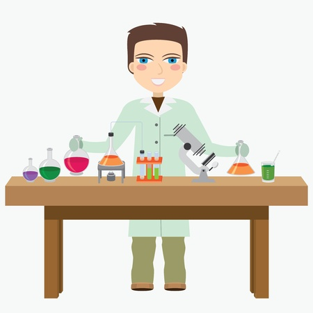 Man chemist do experiment in the laboratory. Vector