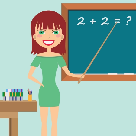 teaching adult: Woman teacher standing near blackboard with a pointer in her hand. Illustration