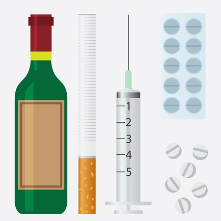 Set of harmful unhealthy things, such as alcohol, cigarette and drugs. Illustration