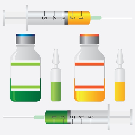 ampule: Equipment for vaccination. Syringe, bottle and ampule on the white background.