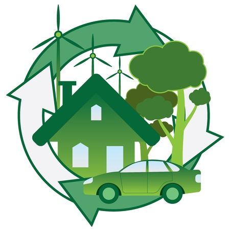 energy conservation: Illustration of green house, car, trees and windmill.