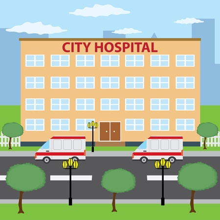 Two ambulance cars parking near city hospital building. Stock Vector - 14661857