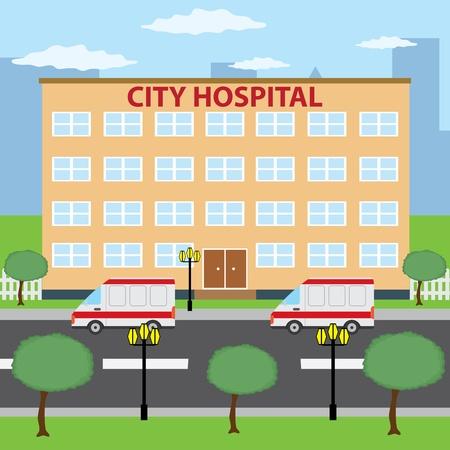 spital ger�te: Zwei Rettungswagen Parkplatz in der N�he Krankenhaus der Stadt Geb�ude. Illustration