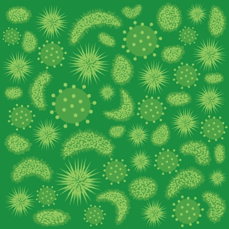 Abstract image of various green colour viruses. Stock Vector - 14766833