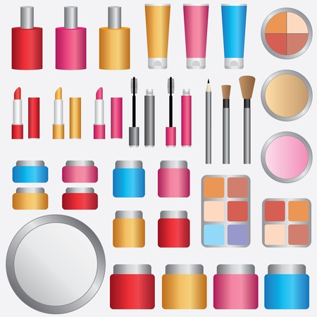 Set of womens make-up cosmetics on the white background.